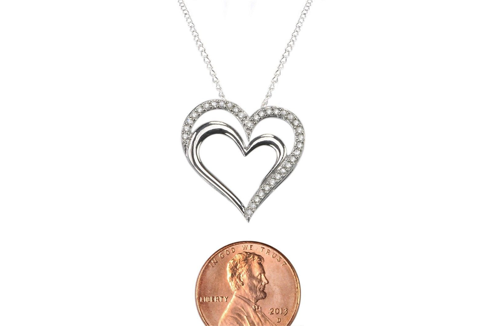 925 sterling silver 25ct diamond double heart pendant necklace 925 sterling silver 25ct diamond double heart pendant necklace mozeypictures Image collections