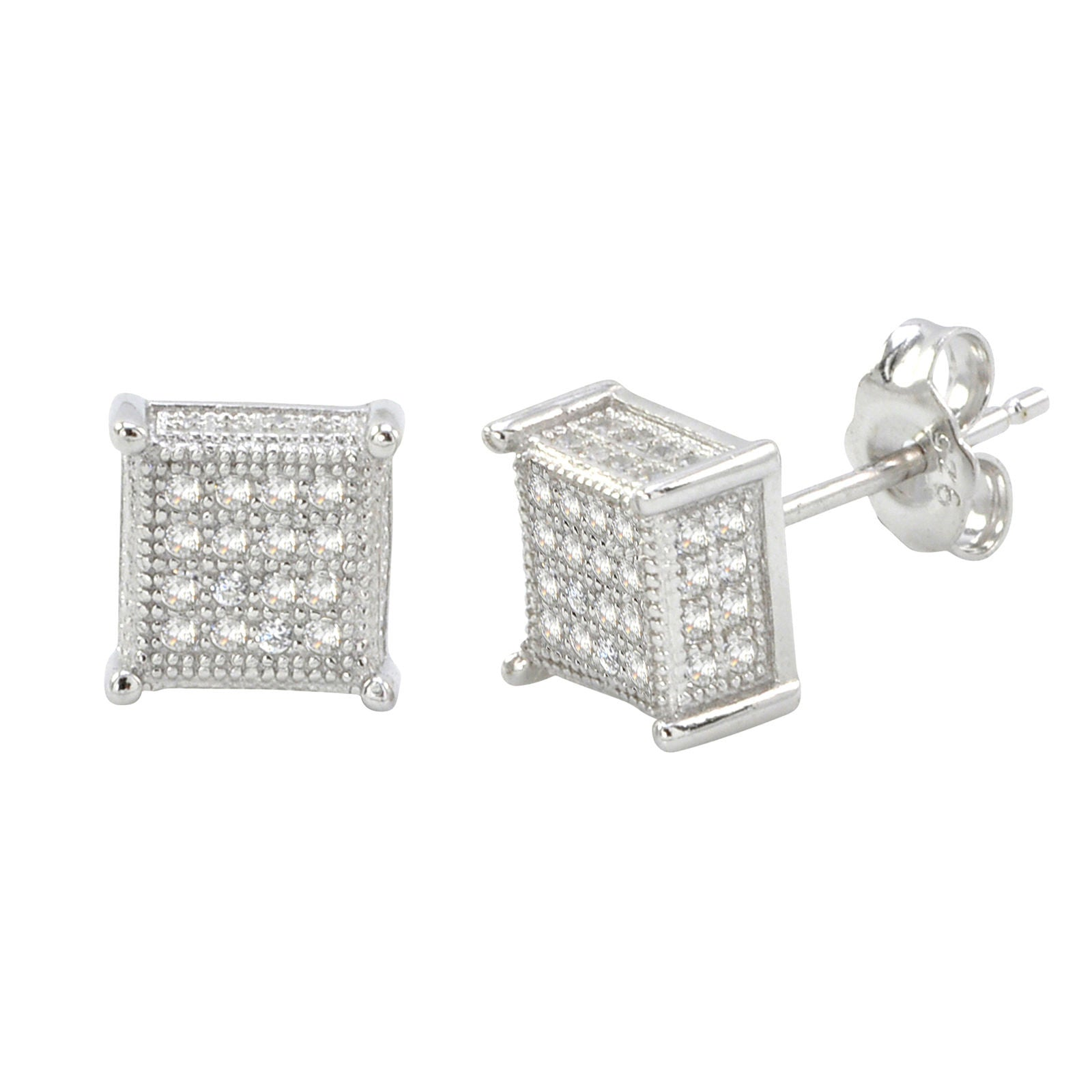 stud square silver diamond cluster halo in accent studs sterling collections netaya crystal earrings