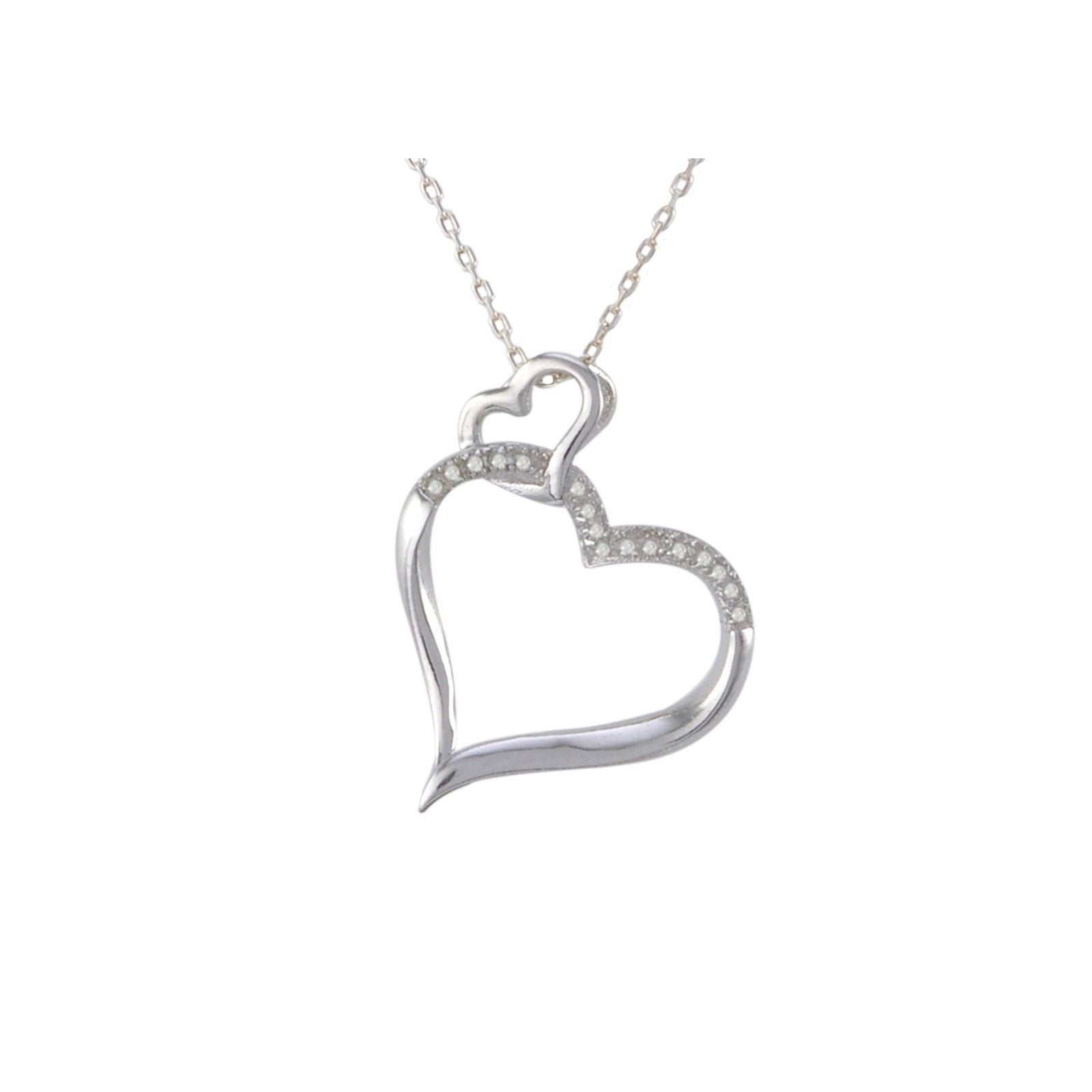 Sterling silver diamond heart pendant necklace 10ct with open sterling silver diamond heart pendant necklace 10ct with open heart bale aloadofball Choice Image
