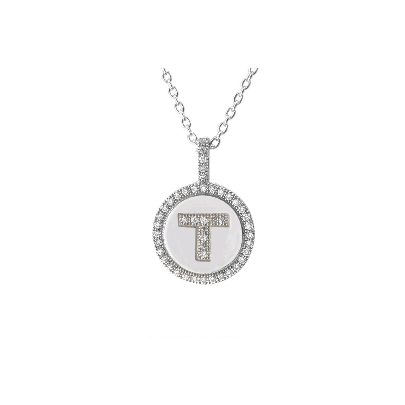 Sterling silver initial necklace letter t necklace jewelryland initial necklace letter t pendant sterling silver micropave cubic zirconia aloadofball Choice Image