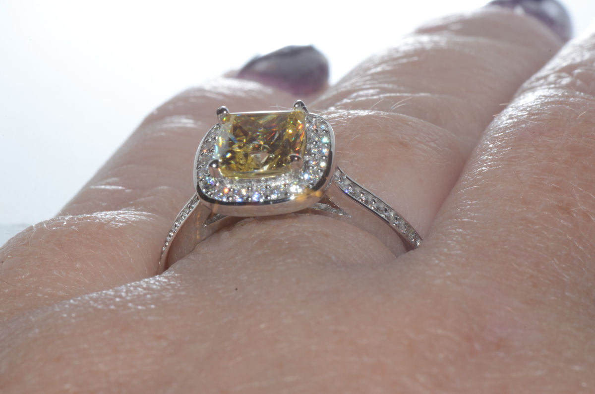 a936b2cdf Sterling Silver 2ct Canary Yellow Princess Cut Designer Cubic Zirconia Ring