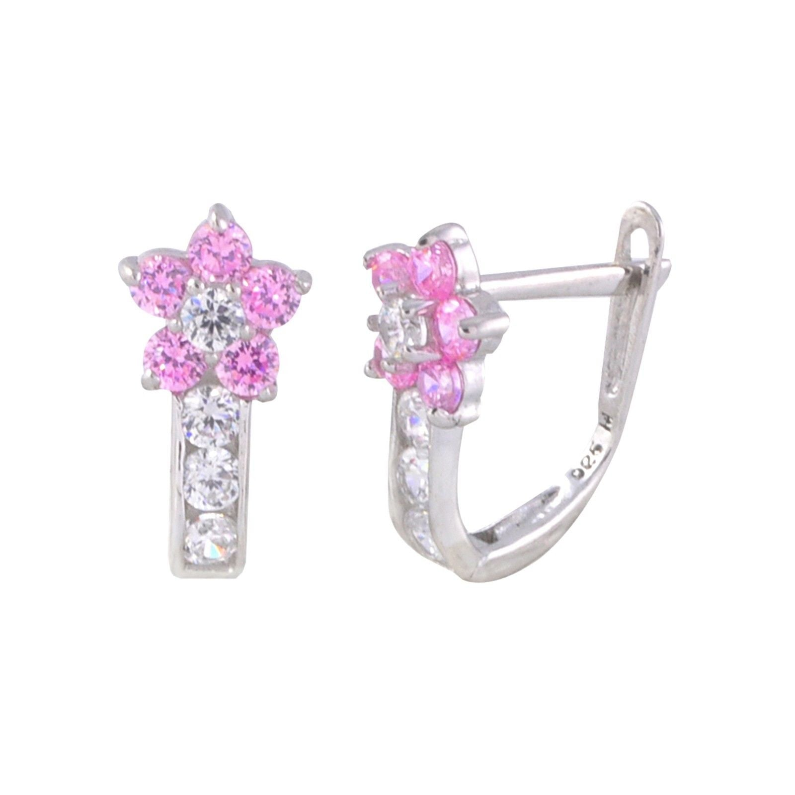 Sterling Silver Leverback Earrings Flower Cz Birthstone Colors  2 Color  Design