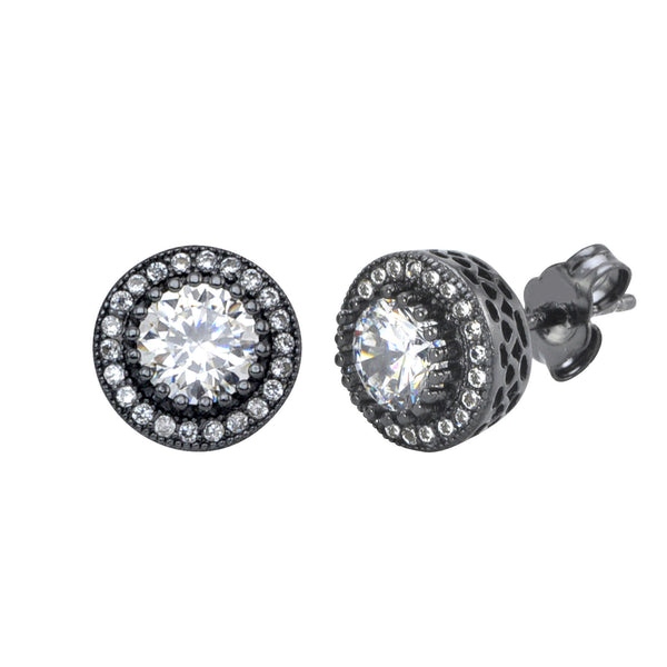 Sterling Silver Black Stud Earrings Round White Cubic