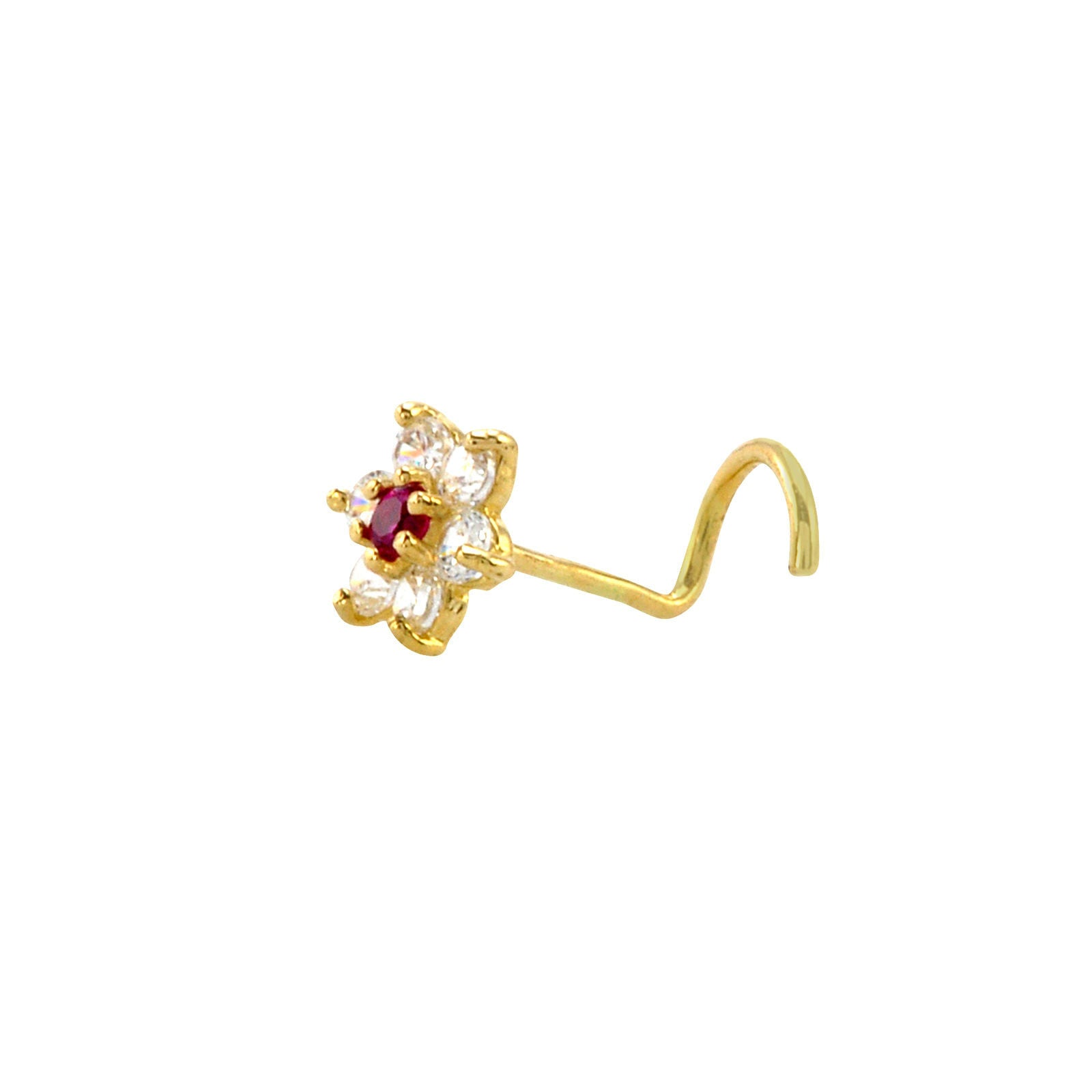 Flower Nose Stud 22g 14k Yellow Gold 5mm Red And White