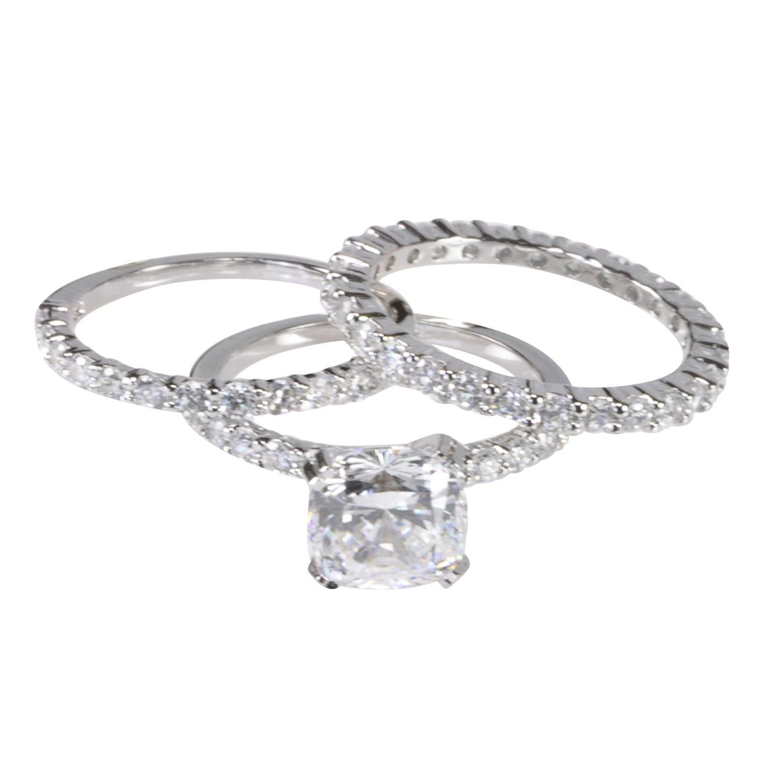 3 Ring Bridal Set 2ct Ring & Two 2mm Wedding Band Sterling Silver