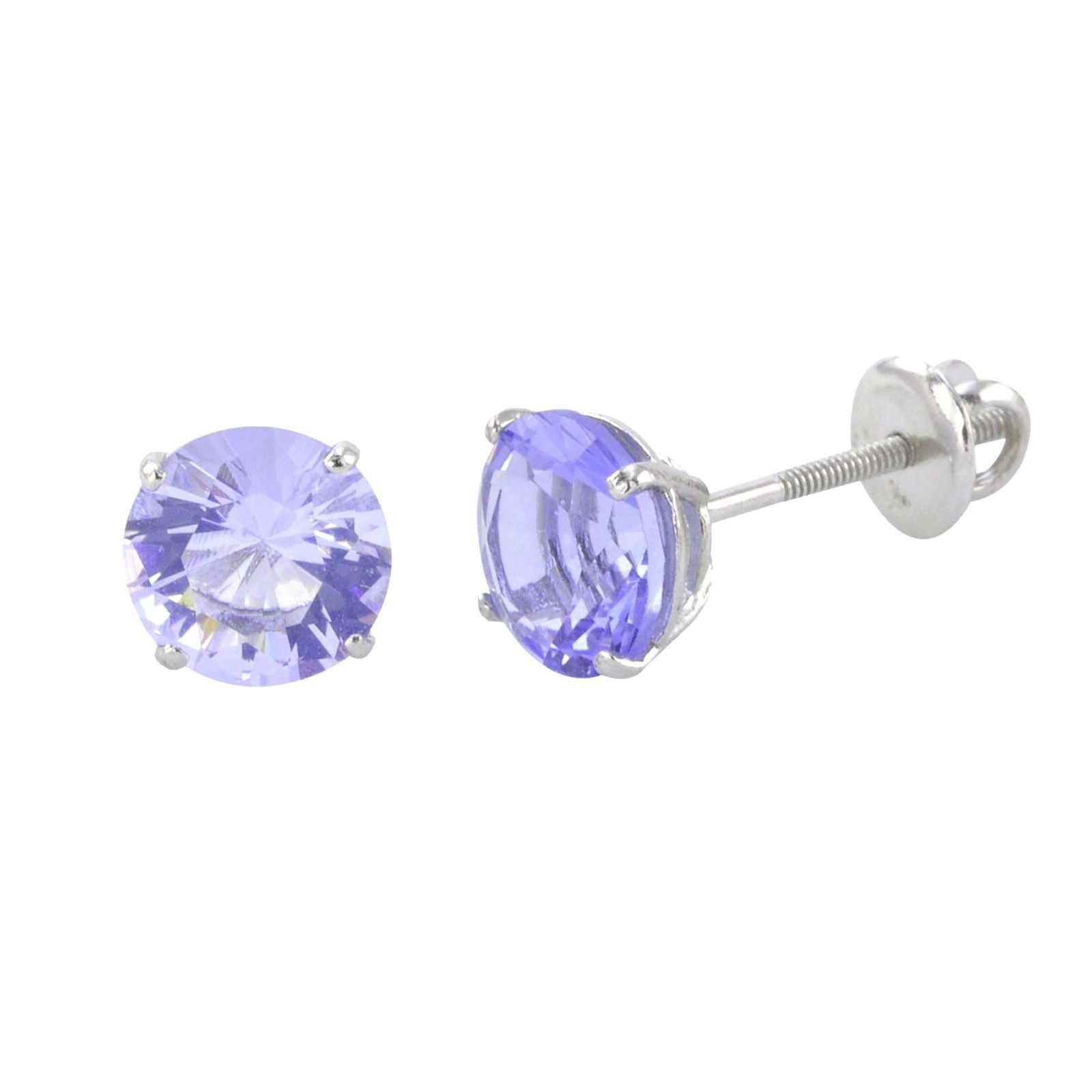 .003 cttw. Solid 925 Sterling Silver Violet Purple February Simulated Birthstone Simulated Amethyst /& Pink Quartz /& Diamond Pendant 14mm x 14mm