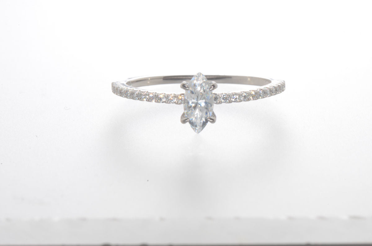 99272fabf Sterling Silver Marquise CZ Ring Cubic Zirconia Stone with Accent Stones