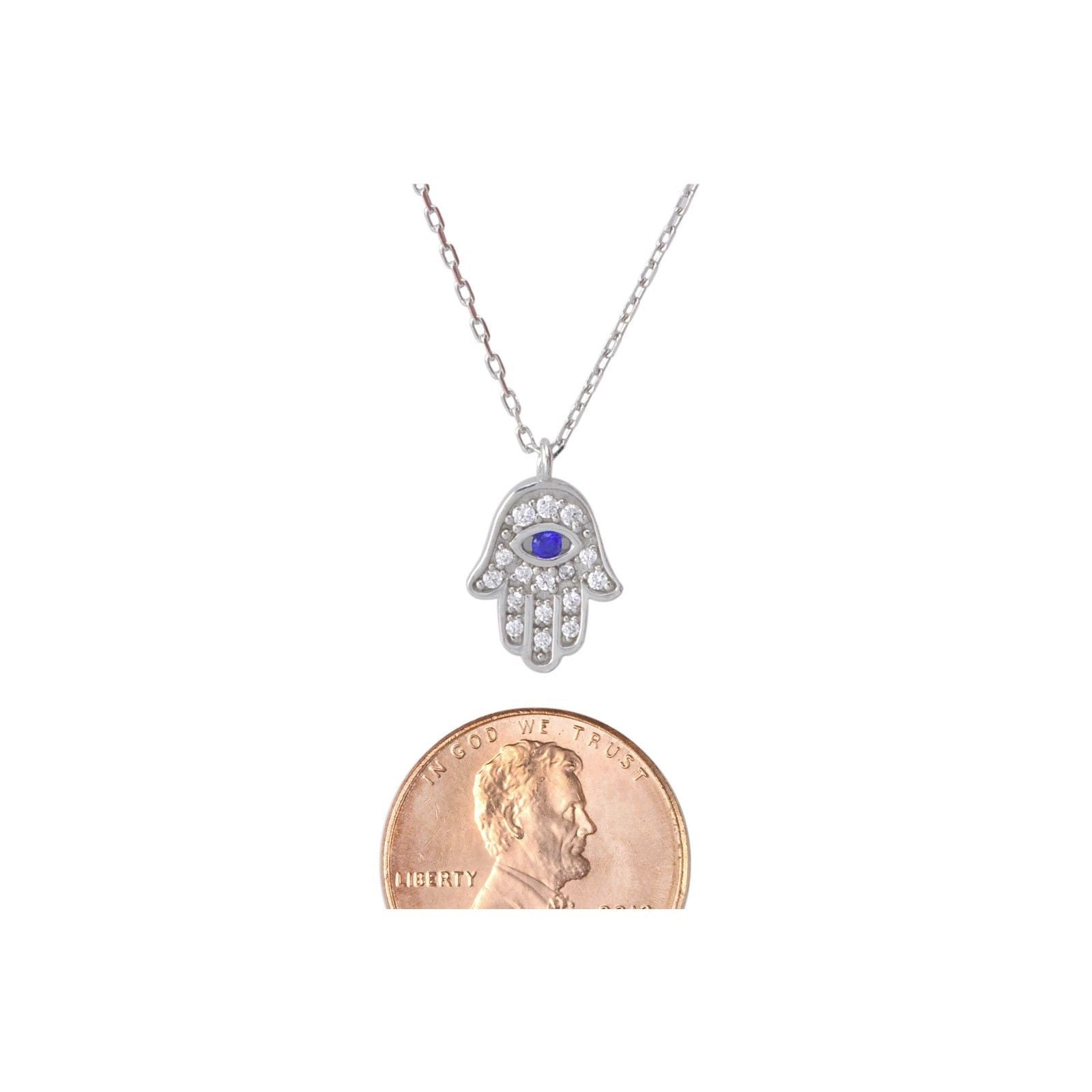 Cubic zirconia necklaces jewelryland hamsa necklace 925 sterling silver hand of god evil eye 17 chain aloadofball Choice Image