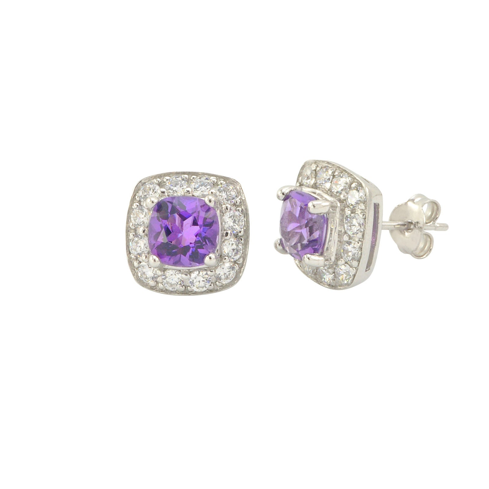 925 Sterling Silver Square 6Mm Ear Studs Cz Amethyst