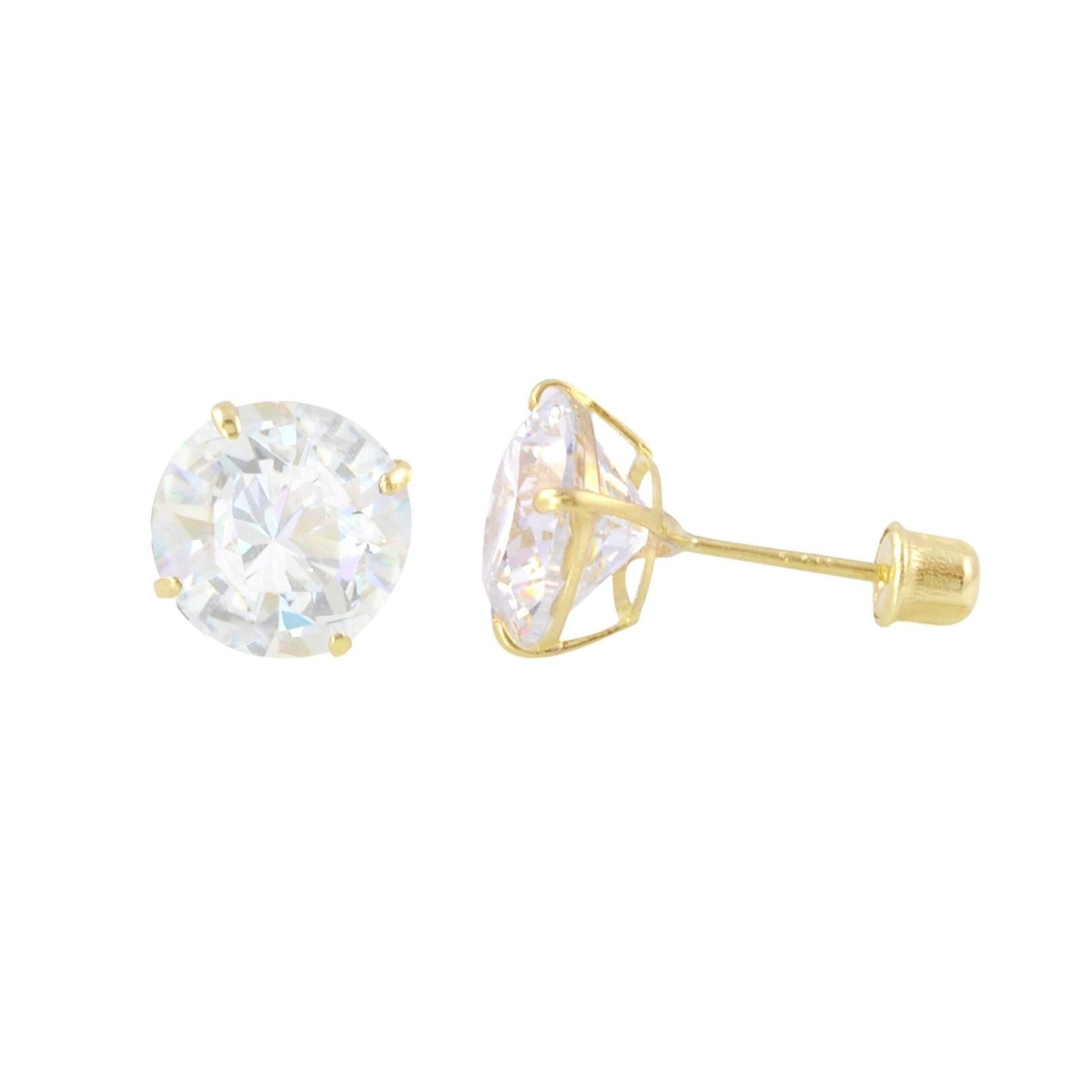 fba302848 Round CZ Studs Screw Back Earrings Solid 14k Yellow Gold Clear Basket Set