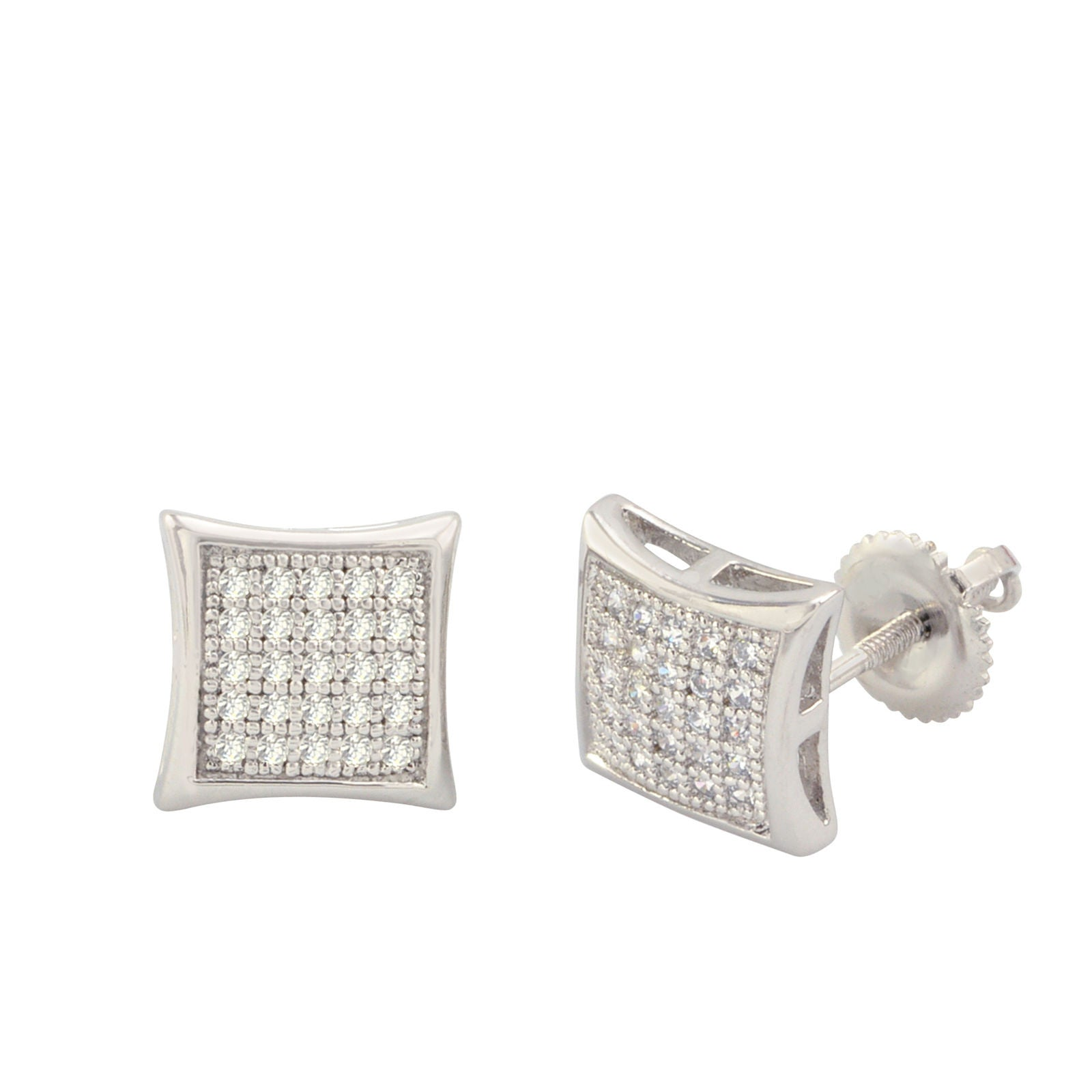 0c8e8bcef050d 925 Sterling Silver Stud Screwback Earrings Clear Pave Cubic CZ 9mm Dome  Shaped