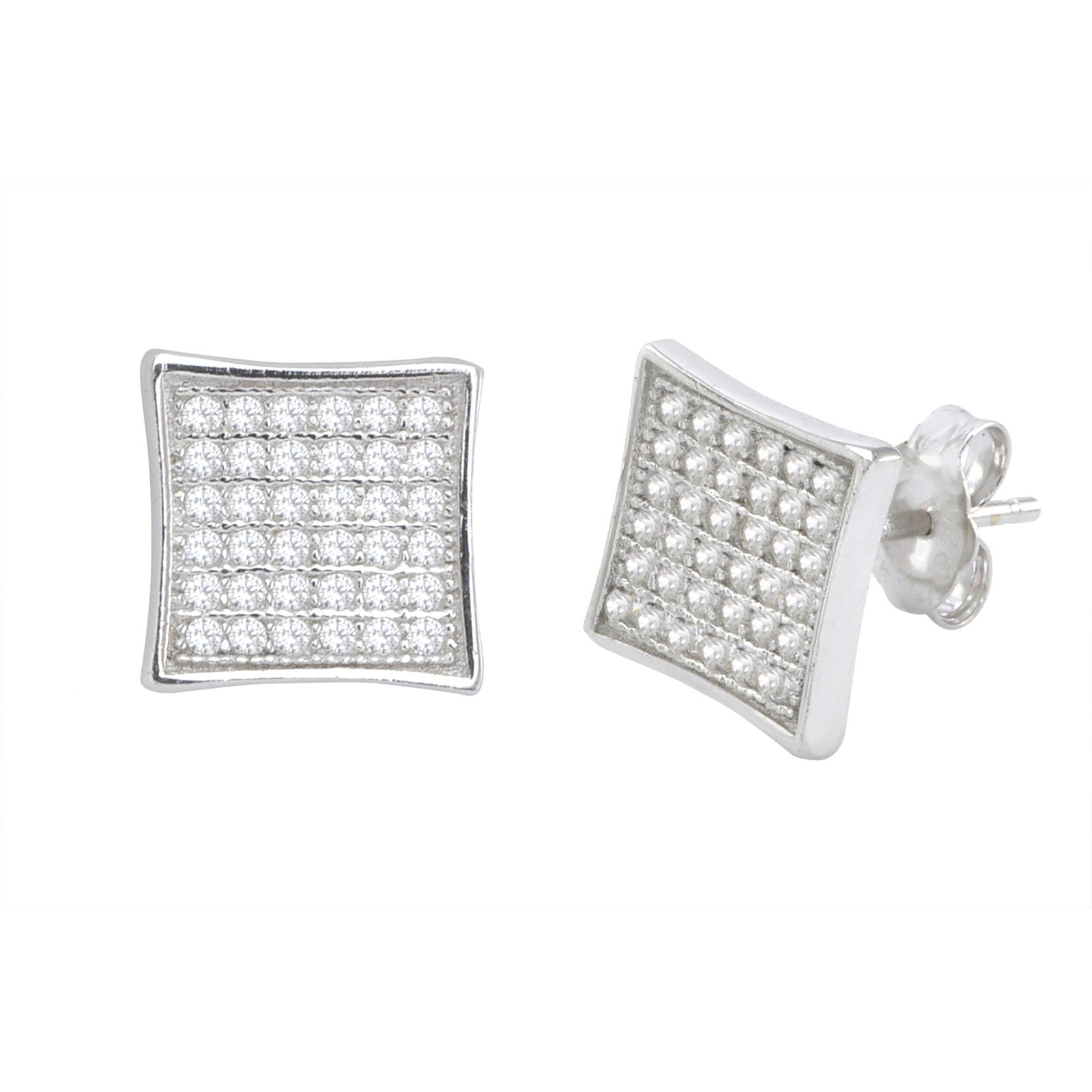 6568479c8 Sterling Silver Stud Earrings Kite Shape Micropave Clear CZ 10mm |  Jewelryland.com