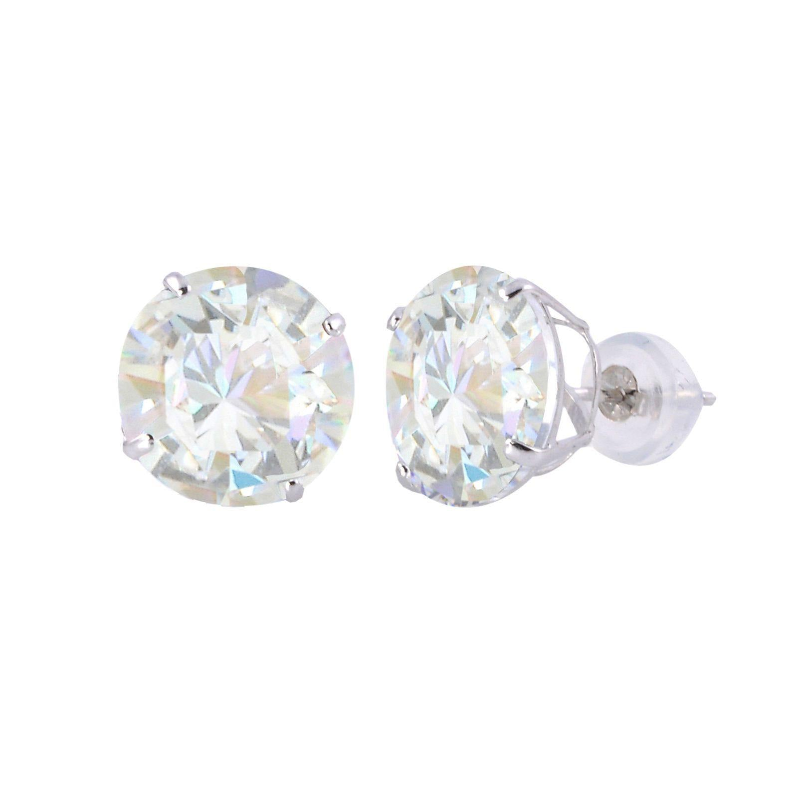 set zirconia in at gold earrings tcw martini round stud cubic