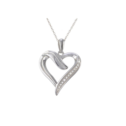 Sterling silver open heart diamond necklace 01ct jewelryland diamond open heart pendant necklace 10ct 1 row diamonds sterling silver mozeypictures Image collections