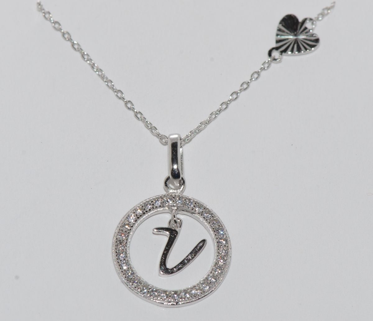 Sterling silver floating letter v cz circle initial 17 necklace sterling silver floating letter v cz circle initial 17 necklace cubic zirconia aloadofball Choice Image