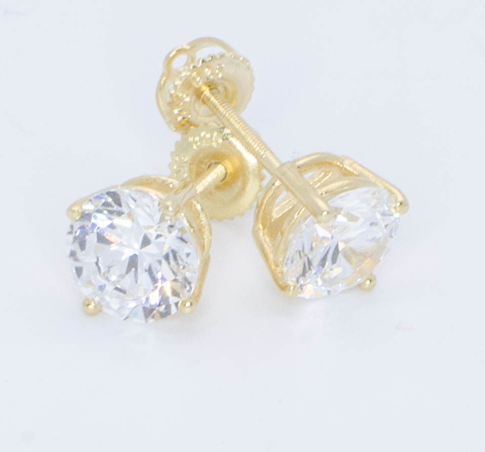 1477a3f82818e Sterling Silver Gold Plated Cubic Zirconia Stud Earrings Screw Back 8mm  Round