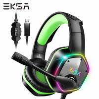 EKSA E1000 Gaming Headset 7.1 Surround Sound Wired Headset Gamer PC For PS4 with RGB Light Noise Cancelling Mic Gaming Headphone