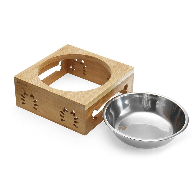 Elevated dog bowl with wood stand the feed bowl for your pet made of stainless steel