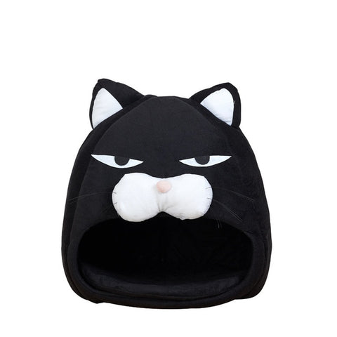 Cat bed - cat house - Cartoon  Fleece Lovely Soft Cat cave  -waterproof Bottom includes Sleep bag