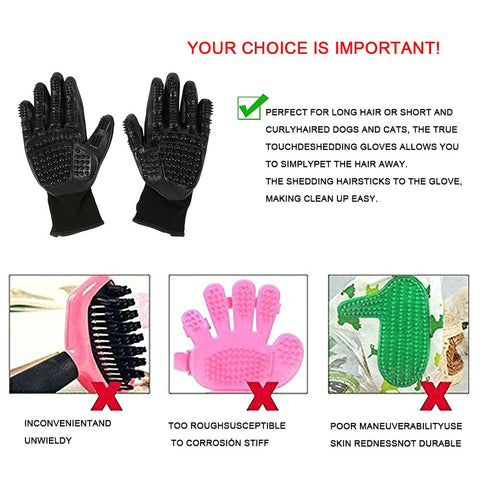 dog brush / Dog Grooming Glove Brush / Pet Gloves for Cat Puppy  and dog Hair Brush Soft Rubber Hair Removal / pet grooming glove