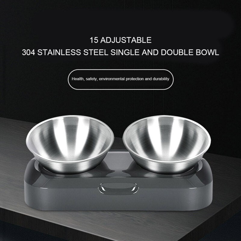 Elevated/raised dog bowl/cat bowl Double bowl made of stainless steel for indoor