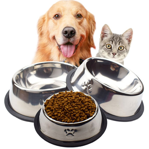 Dog/Cat Bowl Stainless Steel Non-slip Feeding Bowls can be used for indoor/outdoor