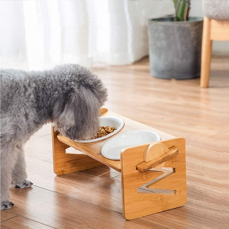 elevated cat and dog bowl with wood stand/ ceramic food bowl adjustable in two sizes and made of ceramic