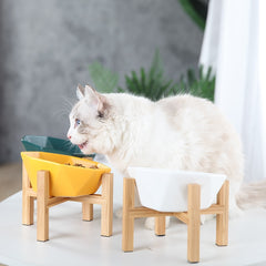 elevated/raised dog bowl/cat bowl made of wood stand and 100% ceramic