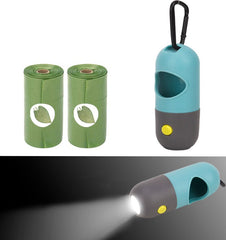Dog poop bag holder / Dog Poop Pickup Bags Holder with LED Flashlight|Pet Waste Bags Dispenser for Lead Leash|Diaper Bags Distributor for Cradle Car|Bags Batteries Carabiner Fastener Included