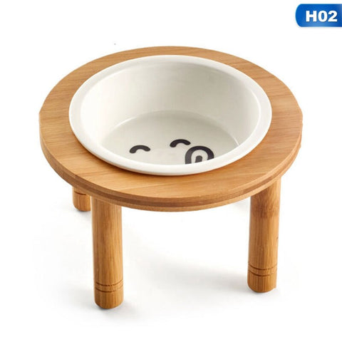 elevated/raised dog bowl/cat bowl made of wood stand and 100% ceramic /raised bowl
