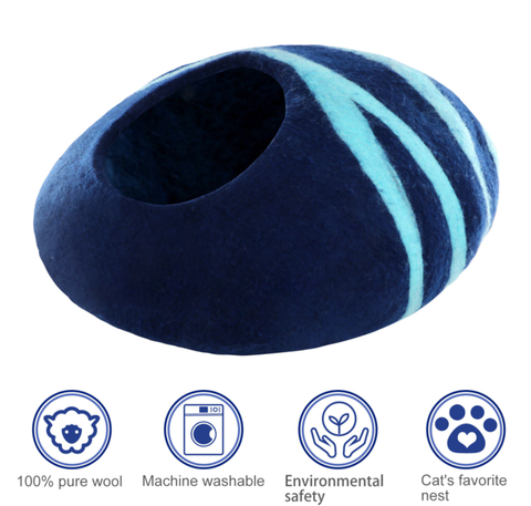 Premium felt cat cave  bed,  wool cat cave   / merino wool cat cave- 100% handmade of wool
