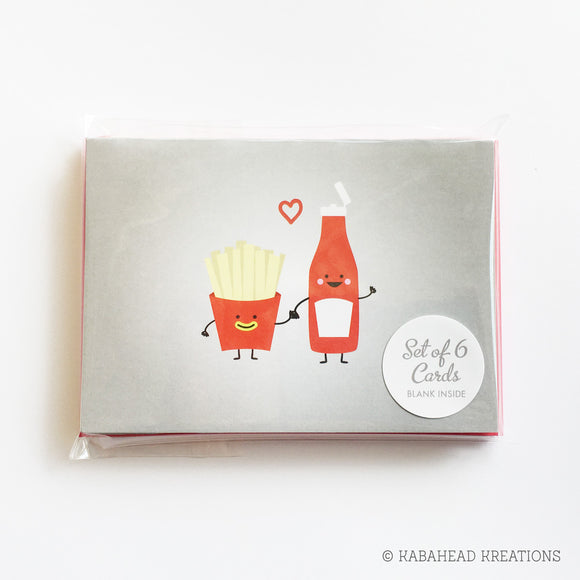 Fries Love Ketchup Note Cards