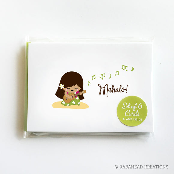 Mahalo Ukulele Girl Note Cards