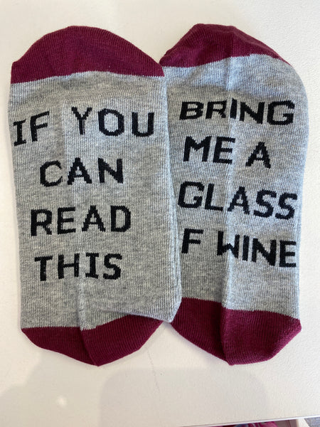 Wine socks grey and burgundy