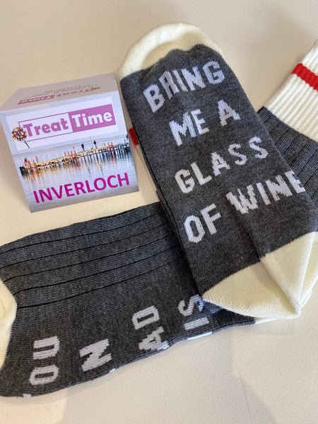 Bring me Wine Socks Grey and cream with red stripe