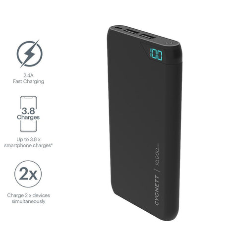 10,000 mAh Power Bank - Black - Cygnett (AU)