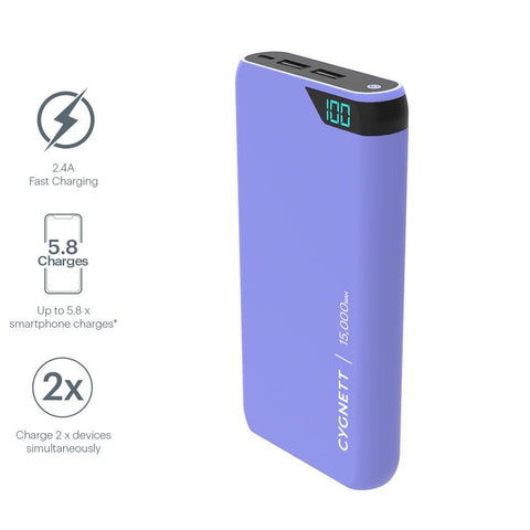 15,000 mAh Power Bank - Lilac - Cygnett (AU)