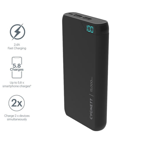 15,000 mAh Power Bank - Black - Cygnett (AU)