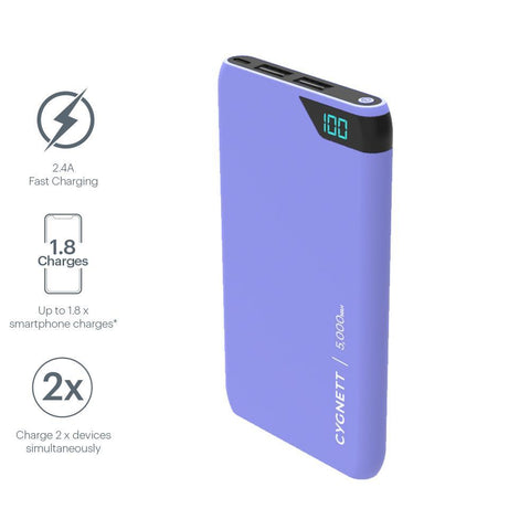 5,000mAh Power Bank - Lilac - Cygnett (AU)