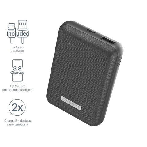 10,000 mAh 18W Power Bank - Black - Cygnett (AU)
