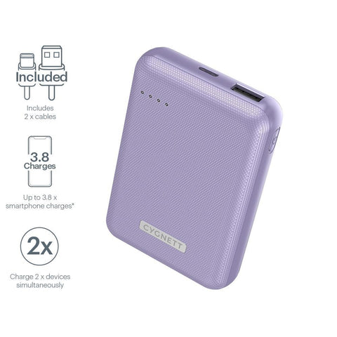 10,000 mAh 18W Power Bank - Lilac - Cygnett (AU)
