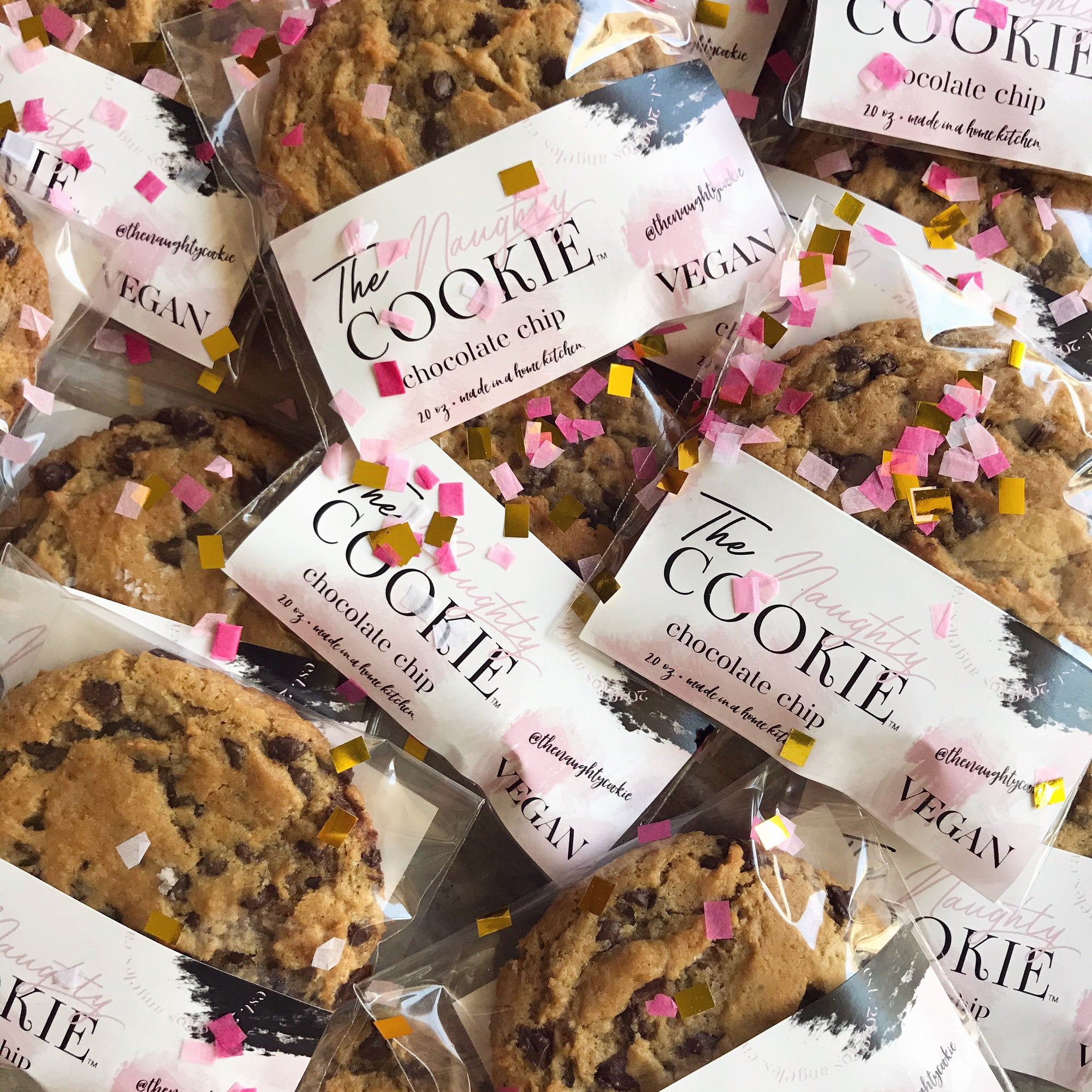 The Naughty Cookie Vegan Chocolate Chip Cookies. Nationwide Shipping Available. Cookies that ship nationwide. Pre-packaged vegan cookies. Chocolate Chips. Confetti.