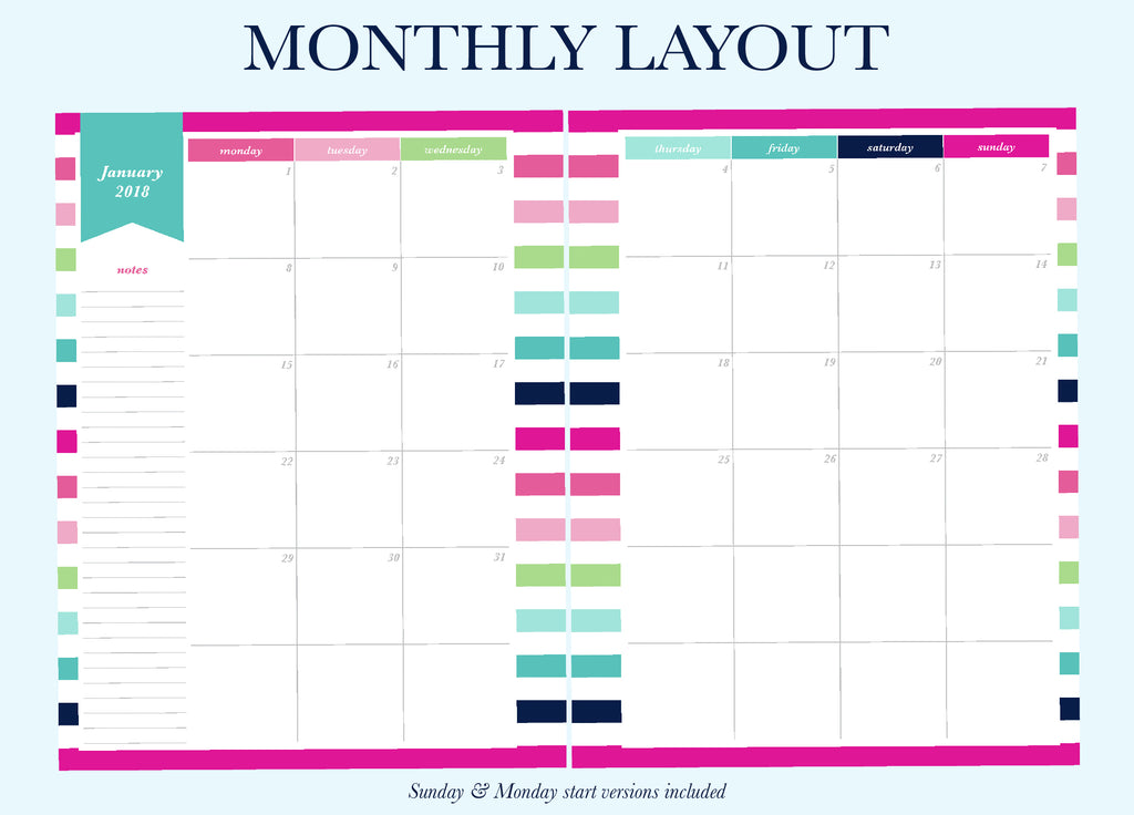 This is the Monthly layout for Printable Planners by Jessica Marie Design. There are 6 different weekly layout options available for you to download. Sizes available: Letter/A4 and Half Letter/A5. Downloads come with Sunday and Monday Start versions