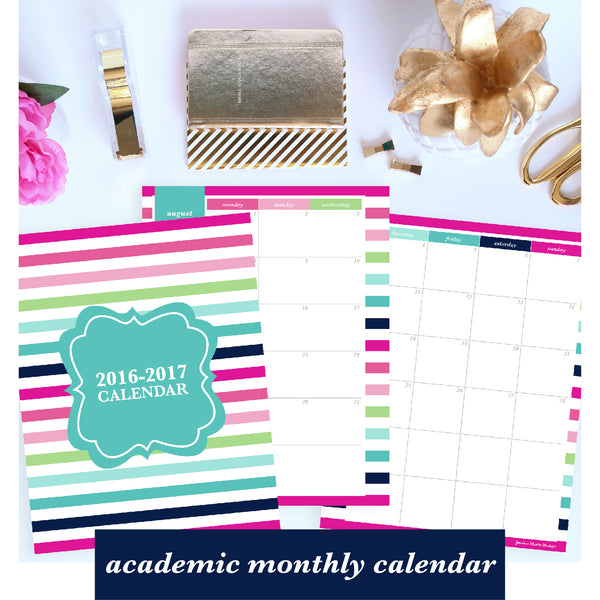 free printable for subscribers - academic monthly calendar from august 2016 through july 2017