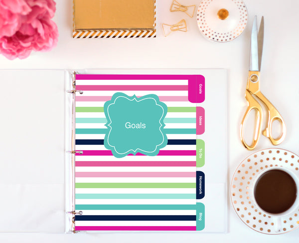 letter size printable dividers by Jessica Marie Design