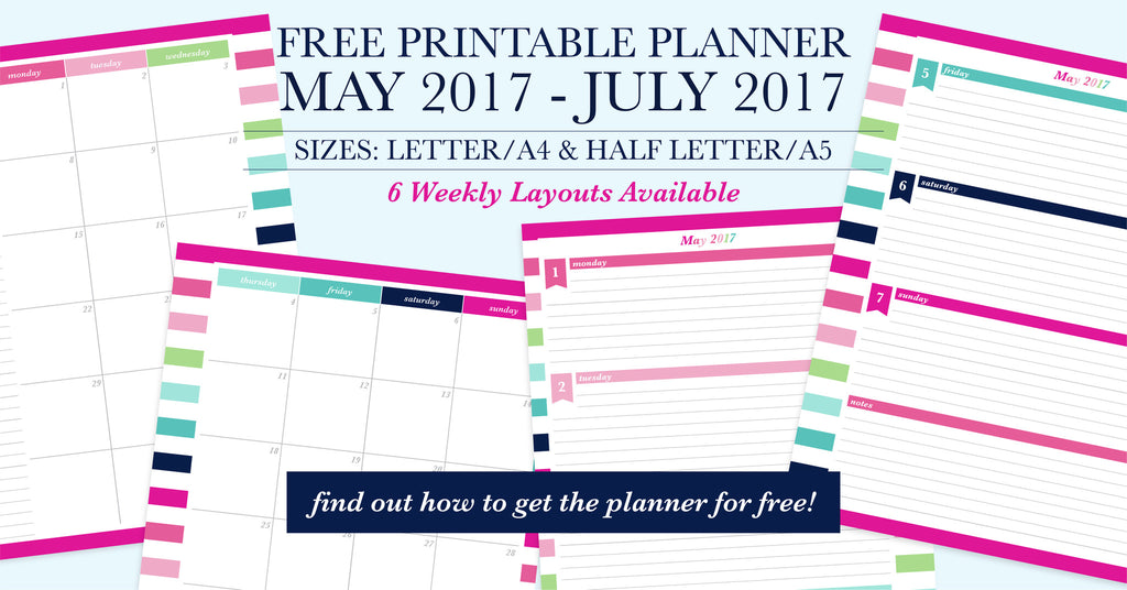 Free Printable Planner Download, Sign up for the Email list to get access to 22 printable planners!