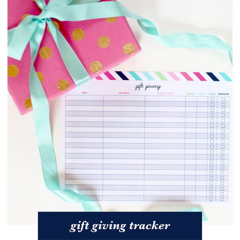 free printable for subscribers - gift giving tracker