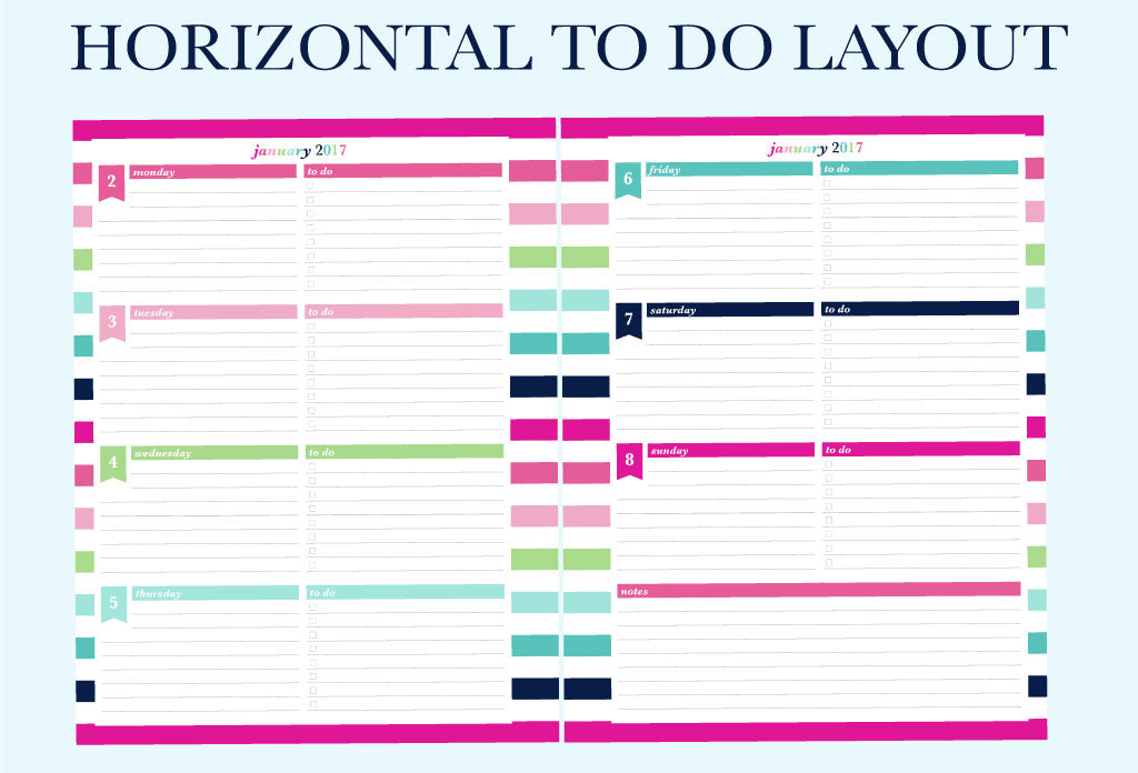 The Horizontal To Do Layout - 2017 Printable Planner by Jessica Marie Design