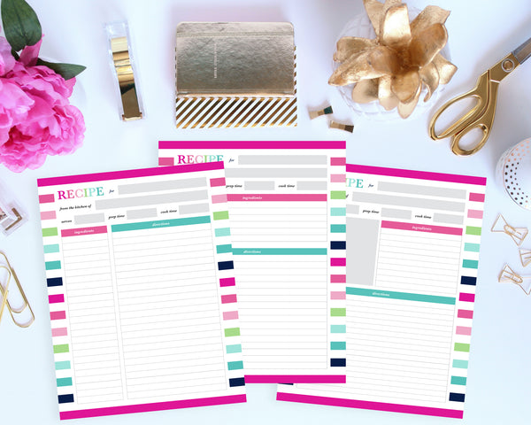 printable recipe binder kit by Jessica Marie Design