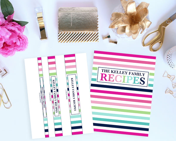 printable recipe binder cover and spines